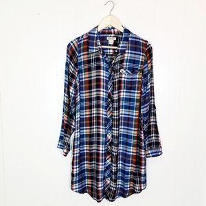Lucky Brand Plaid Flannel Button Shirt Dress